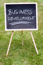 Business development written on a chalkboard Royalty Free Stock Images