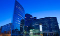 The business district La Defense at night , Paris region, France