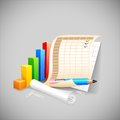 Business document vector illustration of bar graph with Royalty Free Stock Photos
