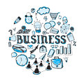 Business doodles cute doodle on the theme in blue color Royalty Free Stock Image