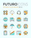 Business and economics futuro line icons with flat design elements of corporate global market strategy vision partnership teamwork Stock Photos