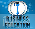Business education business theme square text over a themed background and a related symbol Stock Image