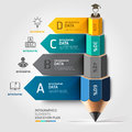 Business education pencil staircase Infographics o