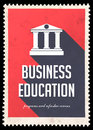Business Education on Red in Flat Design. Royalty Free Stock Image