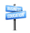 Business education road sign illustration design over white Stock Images