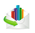 Business email with an inside graph illustration design over white Royalty Free Stock Photography