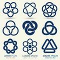 Business emblem set, blue knot symbol Royalty Free Stock Photo