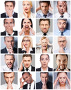 Business emotions collage of diverse multi ethnic people expressing different Royalty Free Stock Photos