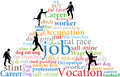 Business employees climb job rat race work word cloud tags pyramid Royalty Free Stock Image