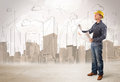 Business engineer planing at construction site with city backgro Royalty Free Stock Photo