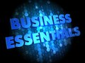 Business essentials on digital background blue color text Stock Photo