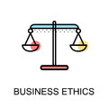 Business ethics icon  with scales symbol on white background ill