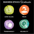 Business Ethics Icon Set Watercolor
