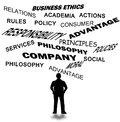 Business ethics and other related word isolated in white Stock Photo