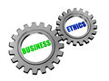 Business ethics in silver grey gears text d gearwheels concept words Royalty Free Stock Photo