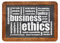 Business ethics word cloud on a vintage blackboard Stock Photos