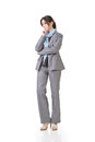 Business executive contemplate one lowered head and full length portrait isolated on white background Royalty Free Stock Photo