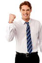 Business executive is full of enthusiasm excited male manager rejoicing on his victory Royalty Free Stock Photography