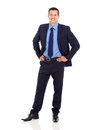 Business executive good looking standing on white background Stock Photography
