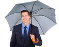 Business executive umbrella close up portrait of young holding Royalty Free Stock Photo