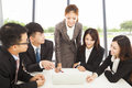 Business female manager briefing all colleagues Royalty Free Stock Photo