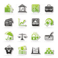 Business finance and bank icons vector icon set Royalty Free Stock Photo
