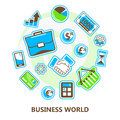 Business, finance, banking, marketing world, isolated vector image Royalty Free Stock Photo