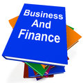 Business and finance book stack shows businesses showing finances Stock Photo