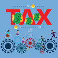 Business finance concept,Cycle`s work of worker,work and pay tax