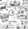 Business finance doodle hand drawn elements concept graph chart pie arrows signs Stock Photo
