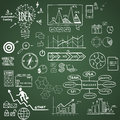 Business finance elements and icons doodle hand drawn Royalty Free Stock Image