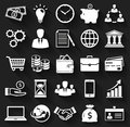 Business and finance flat icons. Vector set.