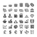 Business finance and money icon set, vector eps10 Royalty Free Stock Photo