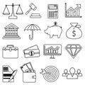 Business finance money line icons set Royalty Free Stock Photo