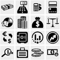 Business finance vector icons set on gray isolated grey background eps file available Royalty Free Stock Photo