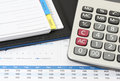 Business and financial closeup image of calculator book on report for working Stock Images