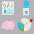 Business financial flat icon set an image of a Stock Photos