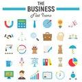 Business flat icon set, finance symbols collection