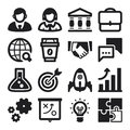Business flat icons black set of about start up Royalty Free Stock Photos