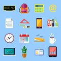 Business flat icons set office stationery of id card folders files documents isolated vector illustration Stock Photos