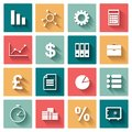 Business flat icons set for web and mobile in design application Royalty Free Stock Photo