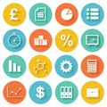 Business flat icons set for web and mobile in design application Royalty Free Stock Images