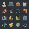 Business flat metro style icons icon set vector illustration Stock Photos