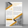 Business flyer design brochure cover template design with strips along the diagonals and icons layout with bejge and gray elements Stock Image