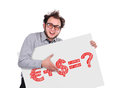 Business formula crazy businessman holding signboard with Royalty Free Stock Photo