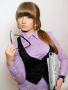 Business girl with documents in office clothes Royalty Free Stock Image