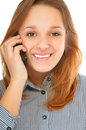 Business girl speaks by phone Stock Image