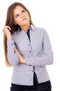 Business girl thinks of work Royalty Free Stock Photography