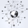 Business global connections abstract network digital concept black and white background Royalty Free Stock Photo