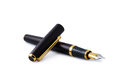 Business golden fountain pen on white Royalty Free Stock Photos
